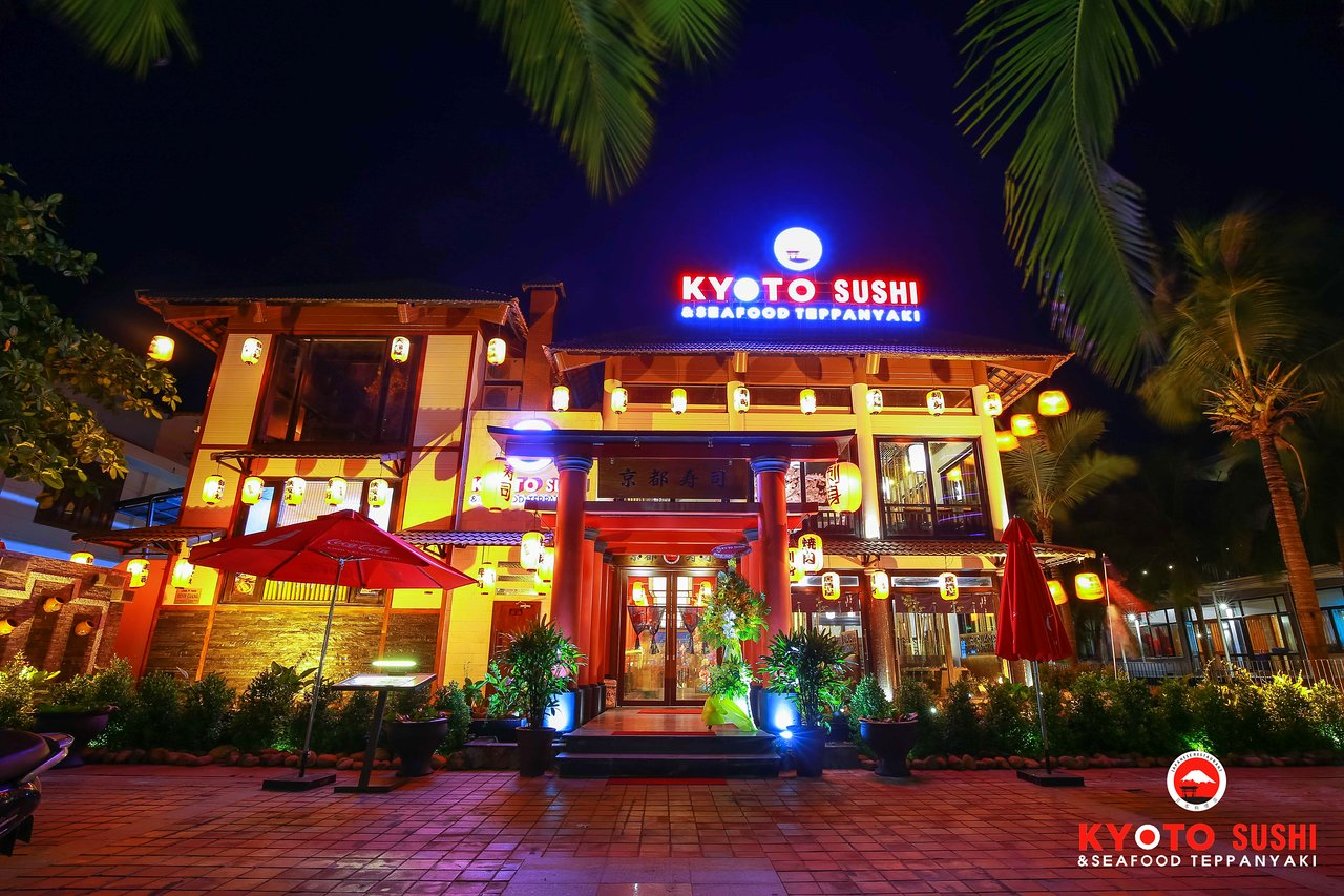 The outside nightview at Japanese cuisine in Danang