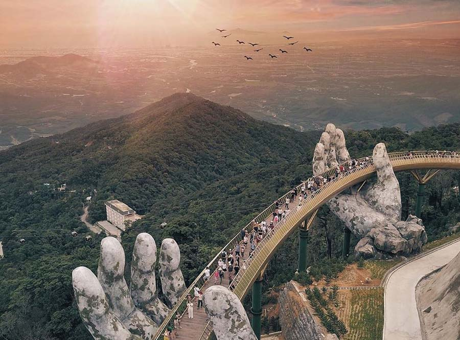 golden bridge is a new hot destination in danang when you visit vietnam in august