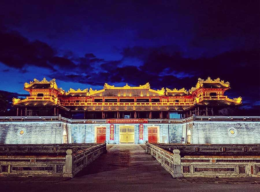 Hue Citadel at night is sparkling and charming that they say it is #1 of things to do in Hue