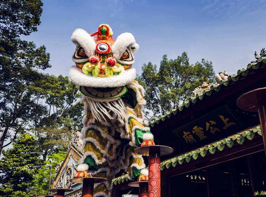 Lion dance is an inspiritual specialty in the mid autumn festival