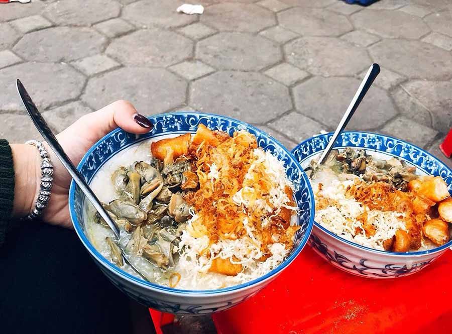 mussels congee is a warm-up dish in cold weather hanoi